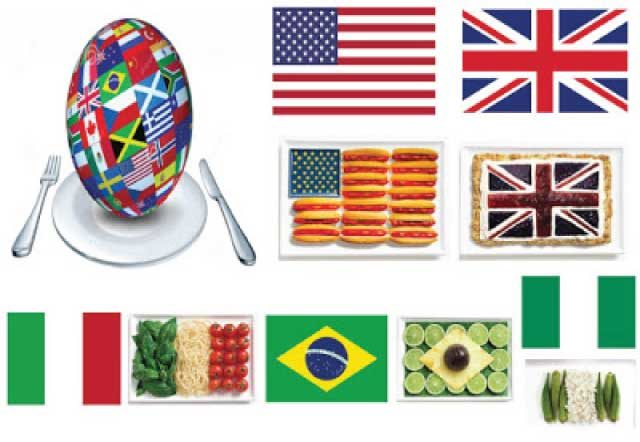 21 countries national flags made of their famous food