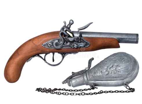 pistol and gunpowder
