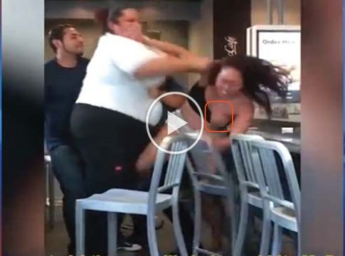 McDonald's worker scraps and expose B00bs of customer who threw milkshake at her and insulted her mum