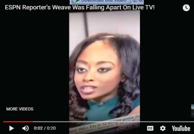 Shocking, A reporter's weave seen falling apart on live TV (video)